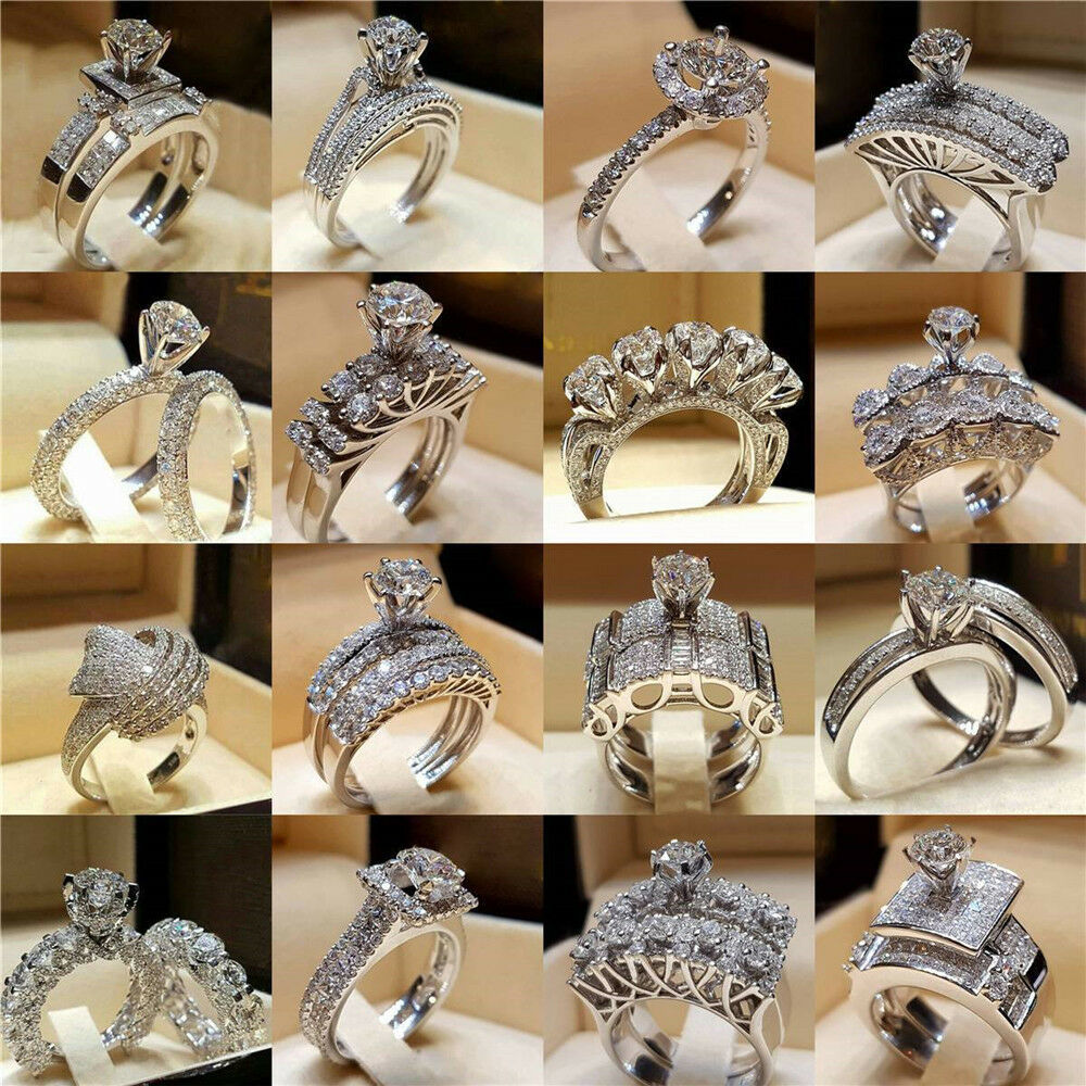 Women Engagement Wedding Ring Crystal Rhinestone White ...
