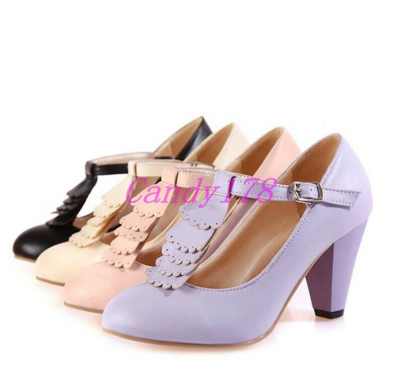 US Womens Round Toe Mary Jane Cuban High Heels Ankle Strap ...