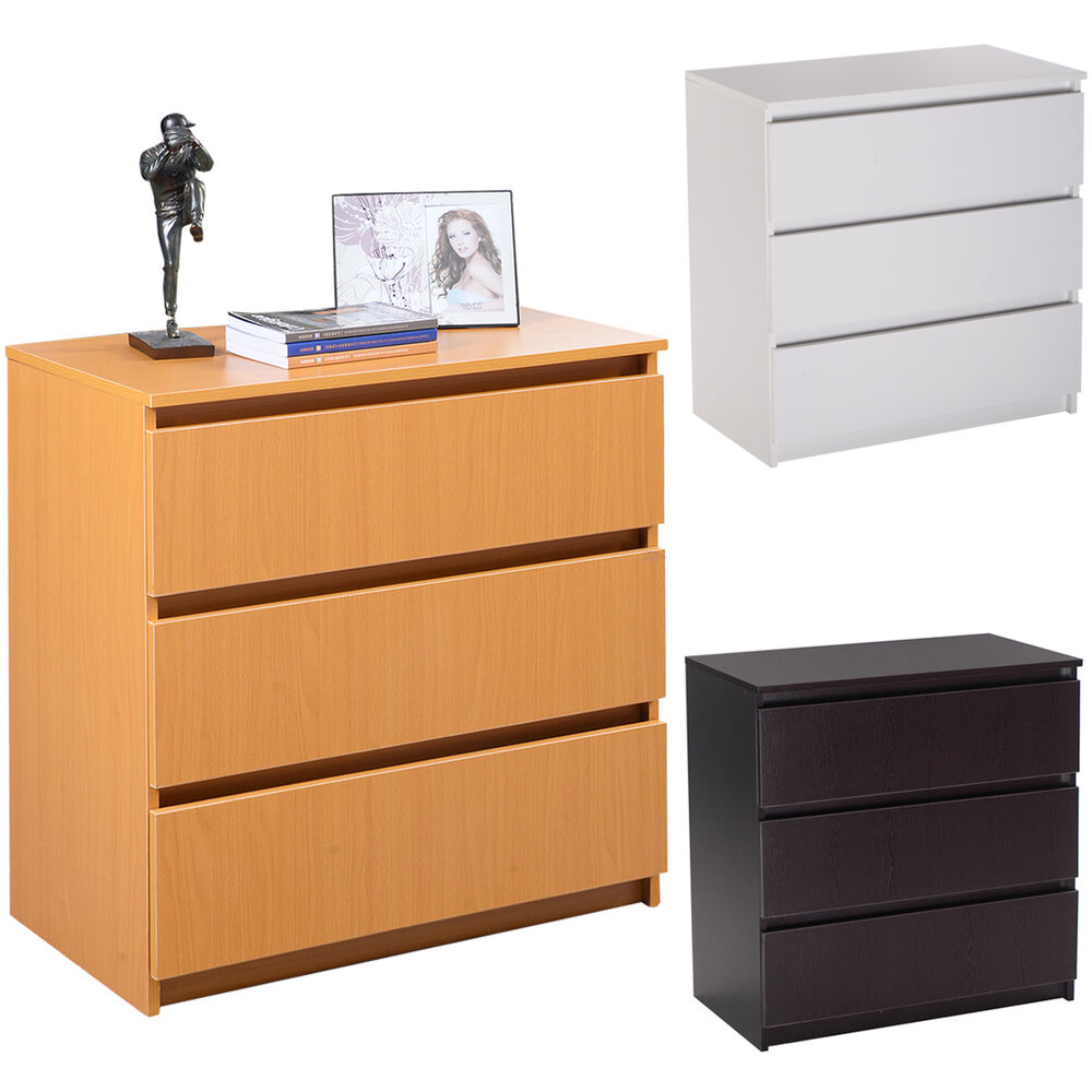 3 drawer storage cabinet bedroom office furniture unit chest drawers organizer ebay for Bedroom set with storage drawers