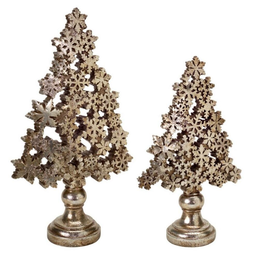 Gold Christmas Tree: Set Of 2 Antique Brass And Champagne Gold Snowflake
