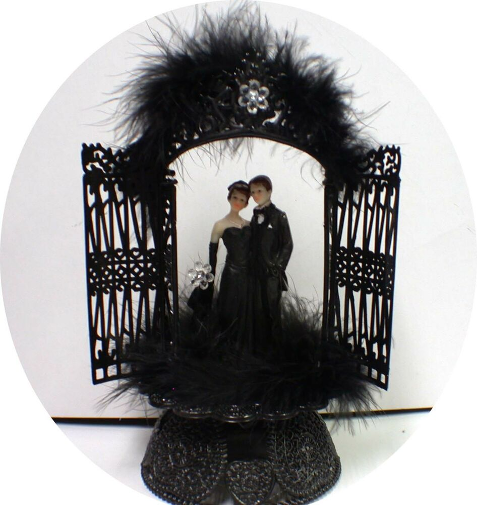 Sexy Black Gown Groom Wedding Cake Toppers Halloween Cutom Design Gothic EBay
