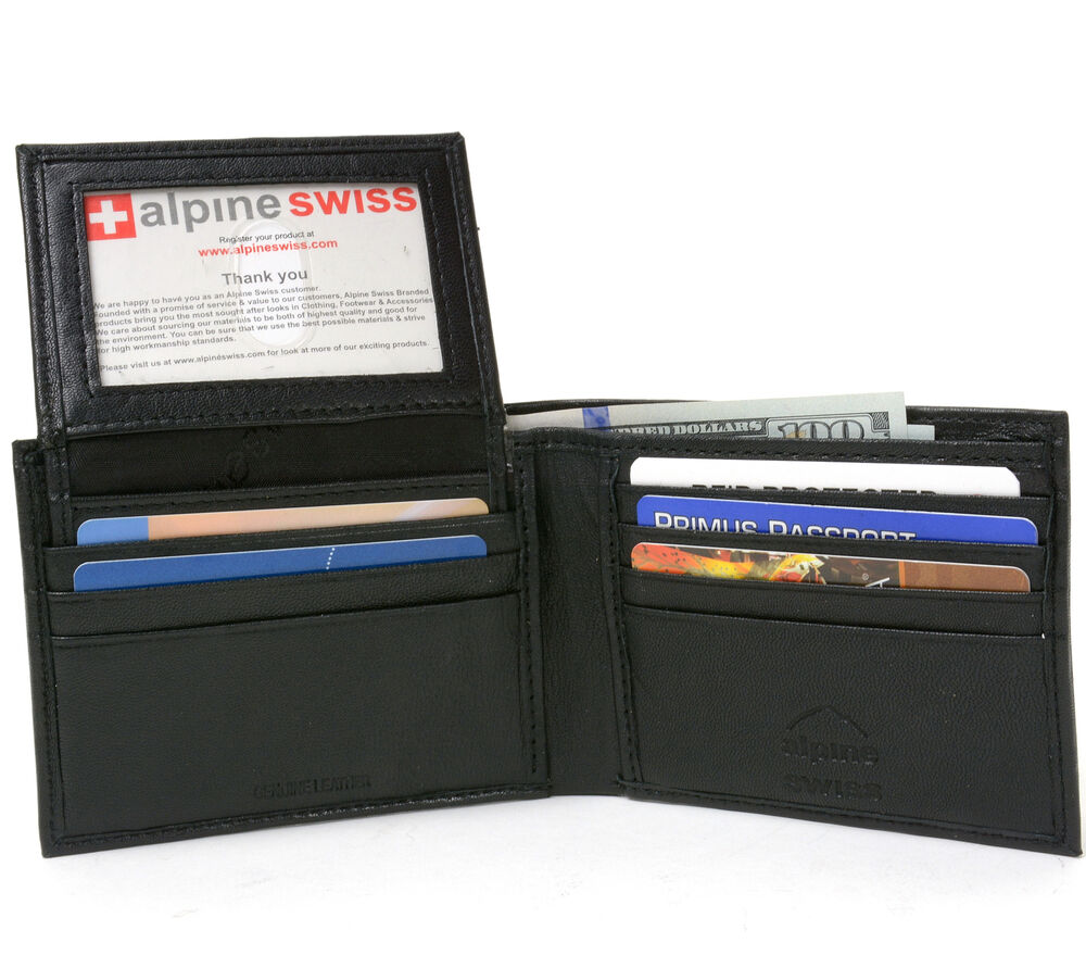 Alpine Swiss Mens Wallet Genuine Leather Removable Id Card