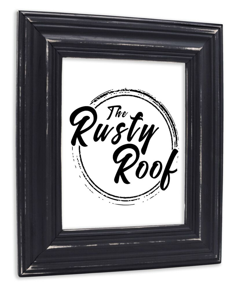 Wide Distressed Black Picture Frame Solid Wood Ebay