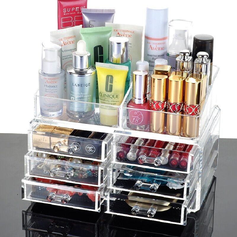 6 drawers beautify clear acrylic cosmetic makeup display for Beauty table organiser