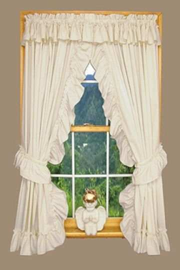 priscilla country ruffle curtain with attached valance white or natural 8 sizes ebay. Black Bedroom Furniture Sets. Home Design Ideas