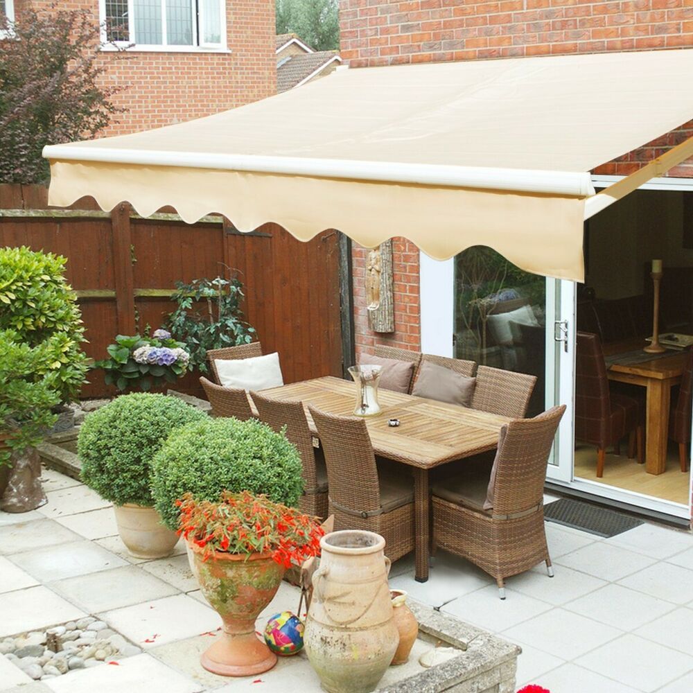 8' x 6'Patio Awning Tan Outdoor Deck Manual Retractable ...