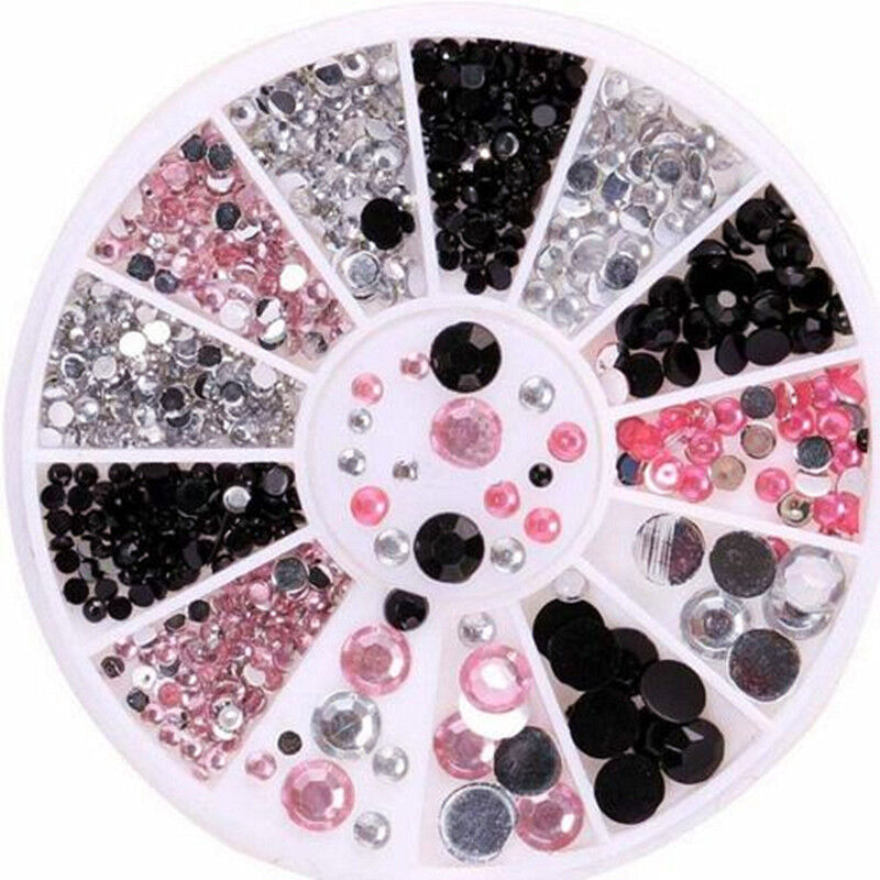 3 Colors 3D Nail Art Tips Gems Crystal Glitter Rhinestone