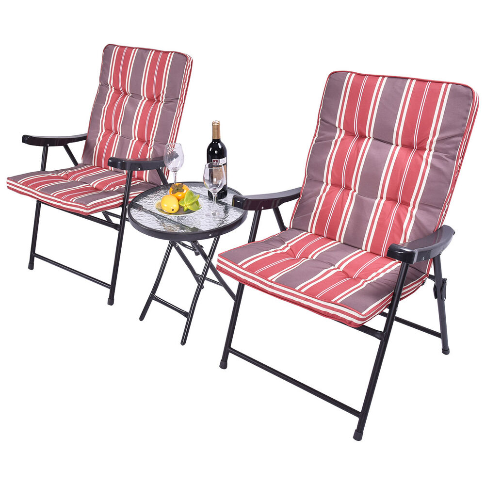 patio 3 pcs outdoor folding chairs table set furniture garden with cushions ebay. Black Bedroom Furniture Sets. Home Design Ideas