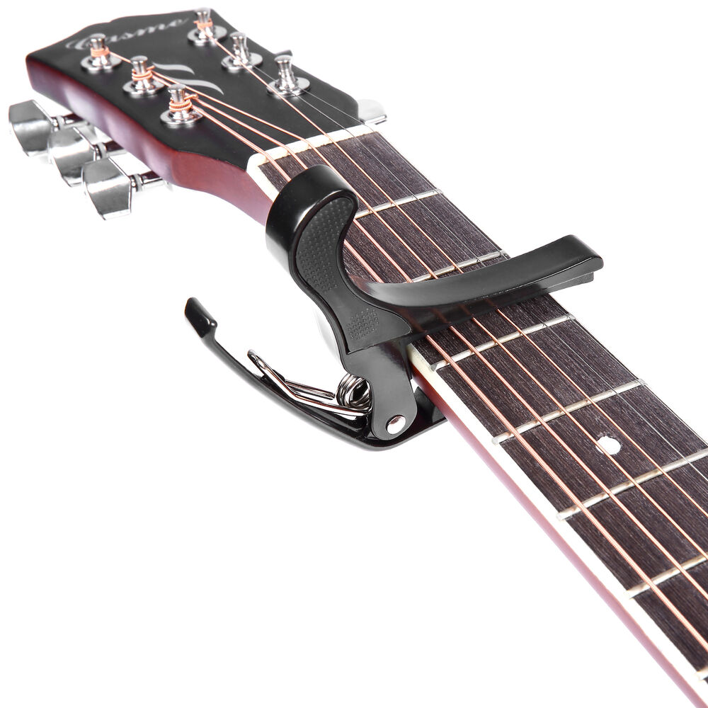 black quick change tune clamp key capo for acoustic electric guitar ebay. Black Bedroom Furniture Sets. Home Design Ideas