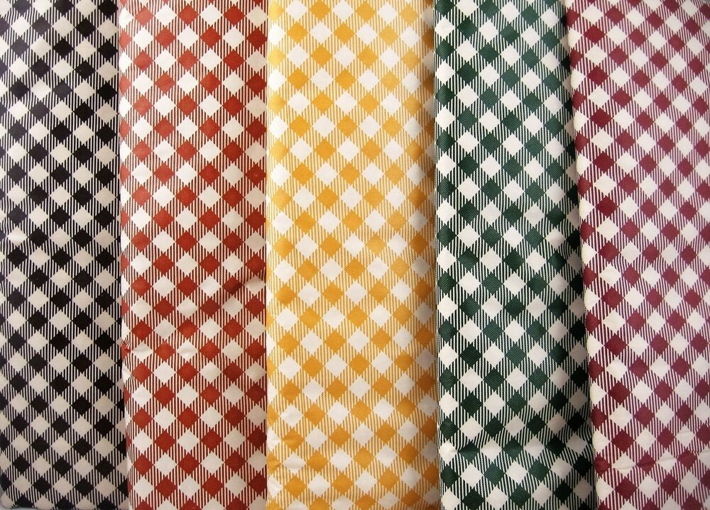 Assorted Earth-tone Colors & Sizes Gingham Check Vinyl ...