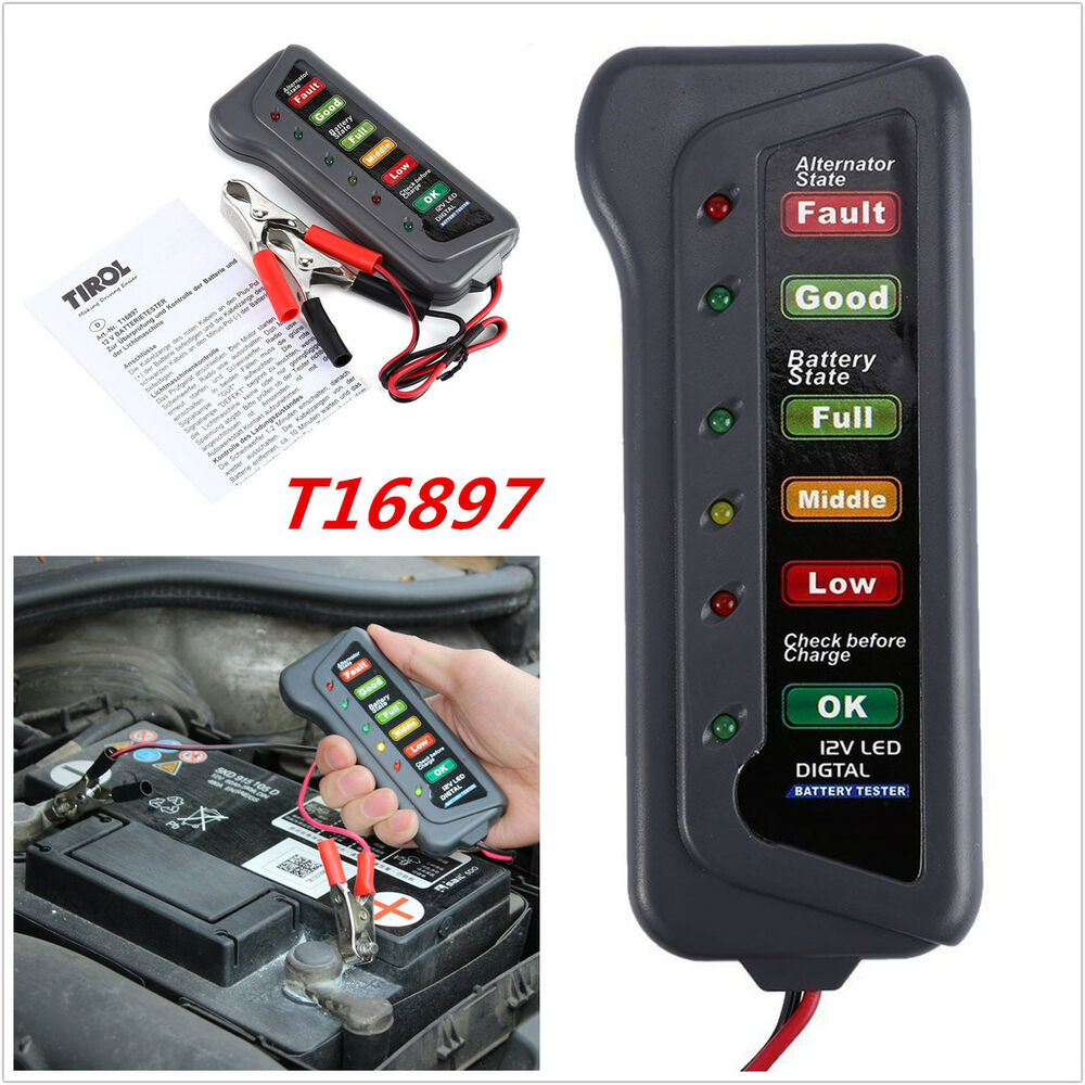 12v car motorcycle digital battery alternator tester 6 led. Black Bedroom Furniture Sets. Home Design Ideas