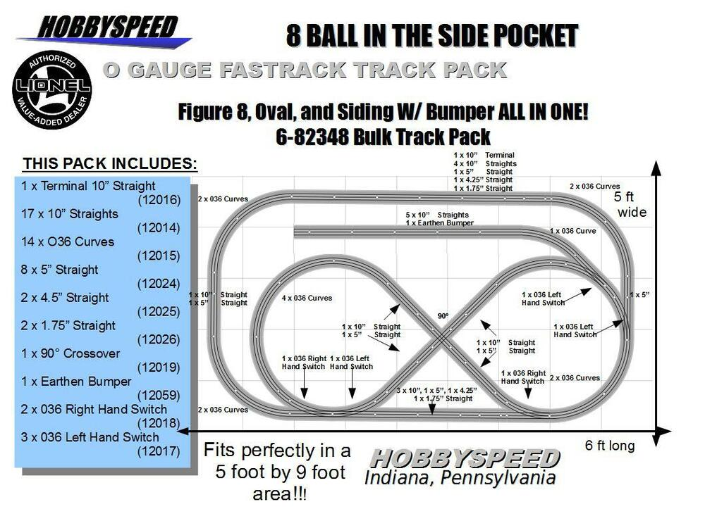 Lionel Fastrack 8 Ball In The Side Pocket Layout Track