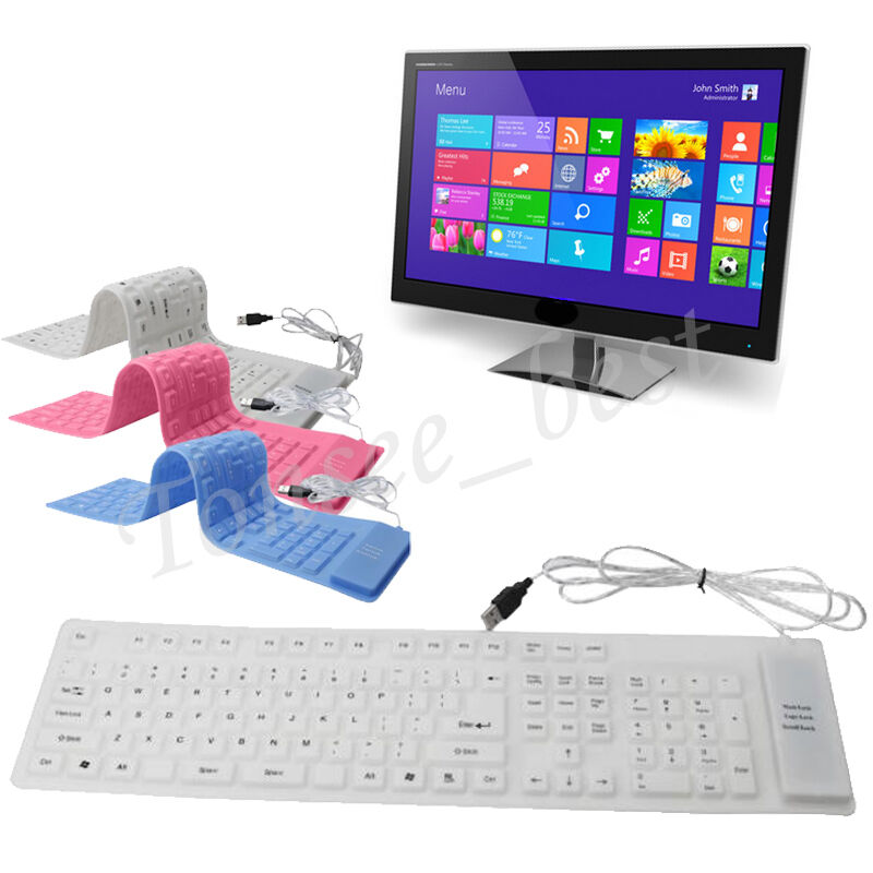 portable usb roll up flexible silicone keyboard for pc laptop notebook computer ebay. Black Bedroom Furniture Sets. Home Design Ideas