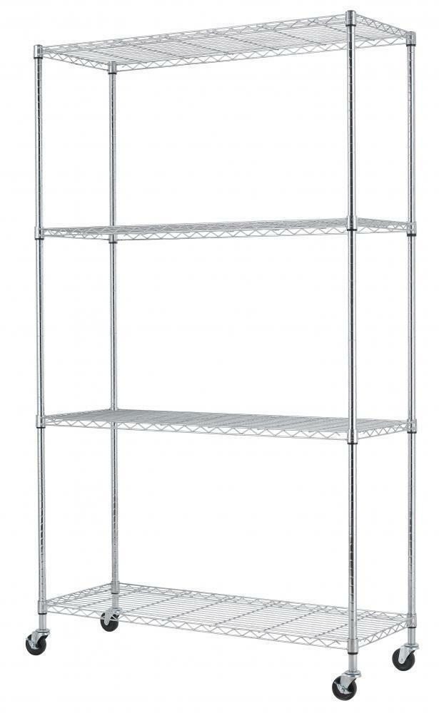 commercial metal shelving black chrome 4 tier shelf adjustablesteel wire 13753