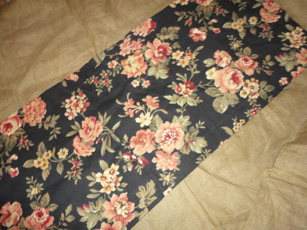 Country Curtains Floral Black Tan Red Cream Tailored Unlined Valance 16 X 79 Ebay