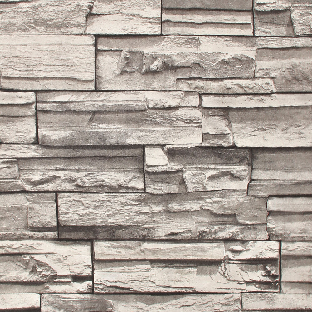 Cornish Stone Effect Wallpaper From B Q: 3D Slate Stone WALLPAPER Roll Brick Effect Feature Retro