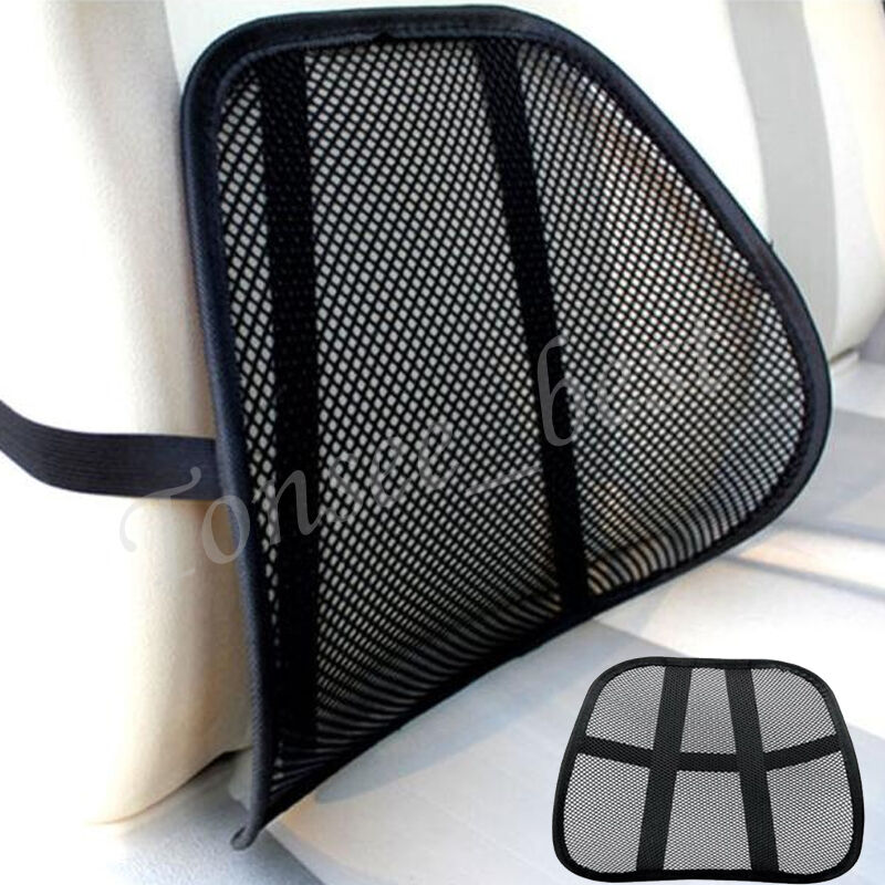black mesh lumbar back brace support office home car seat chair cushion cool new ebay. Black Bedroom Furniture Sets. Home Design Ideas