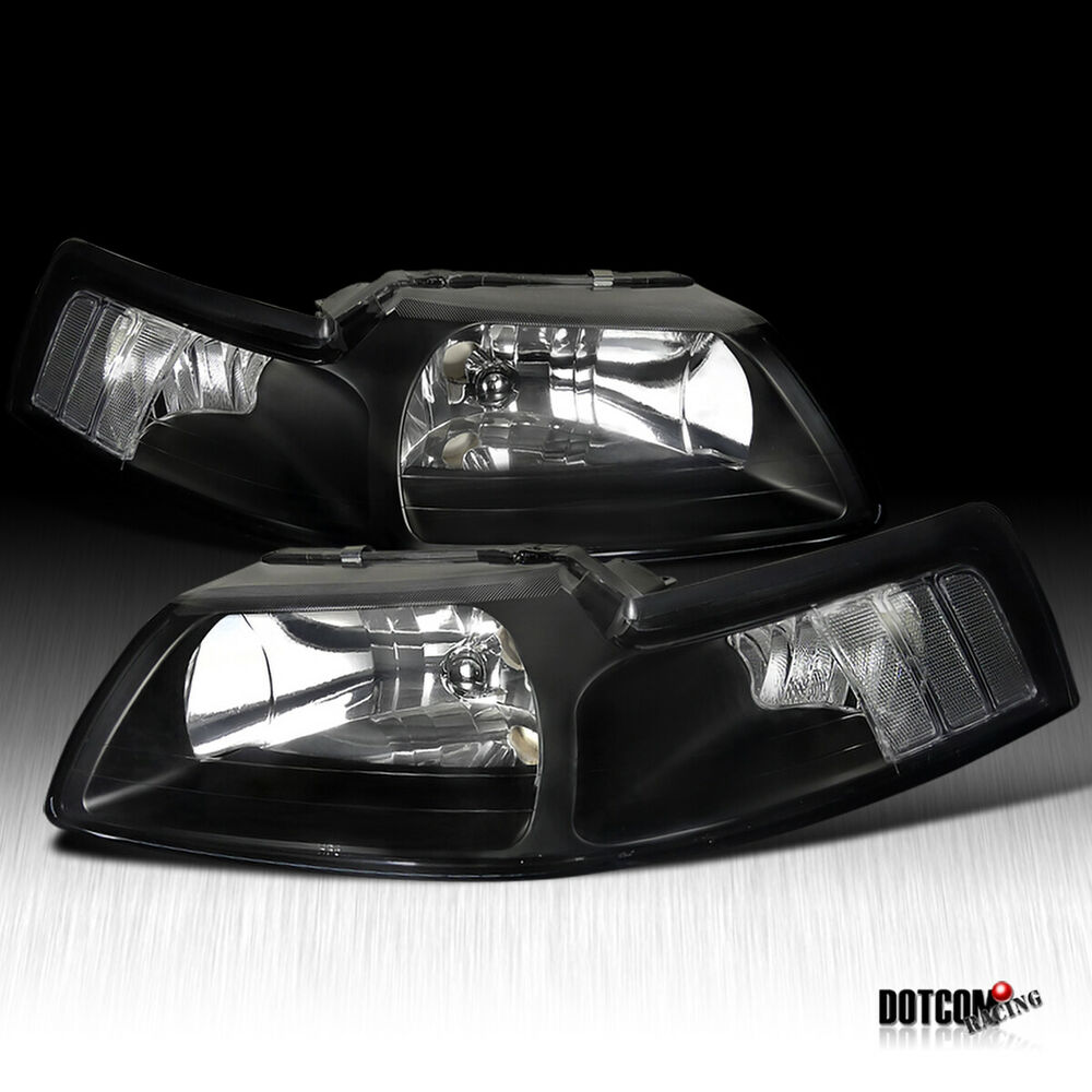 99 Ford Mustang: 99-04 Ford Mustang Black Headlights+Clear Corners