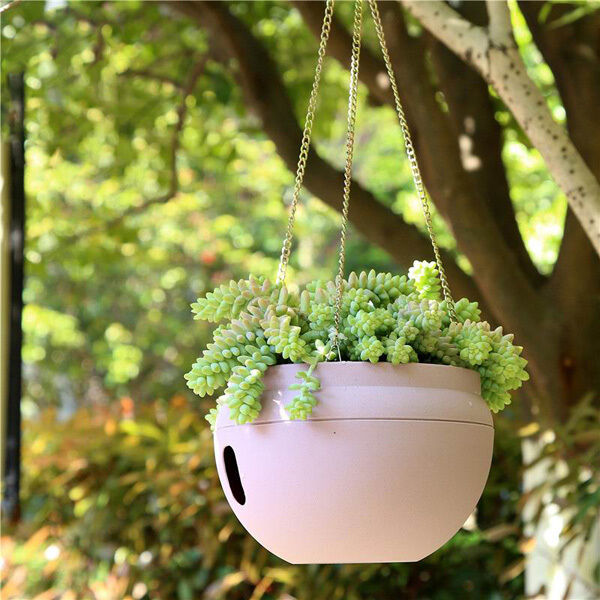 Colorful flower pots hanging chain basket diy garden plant for Colorful hanging planters