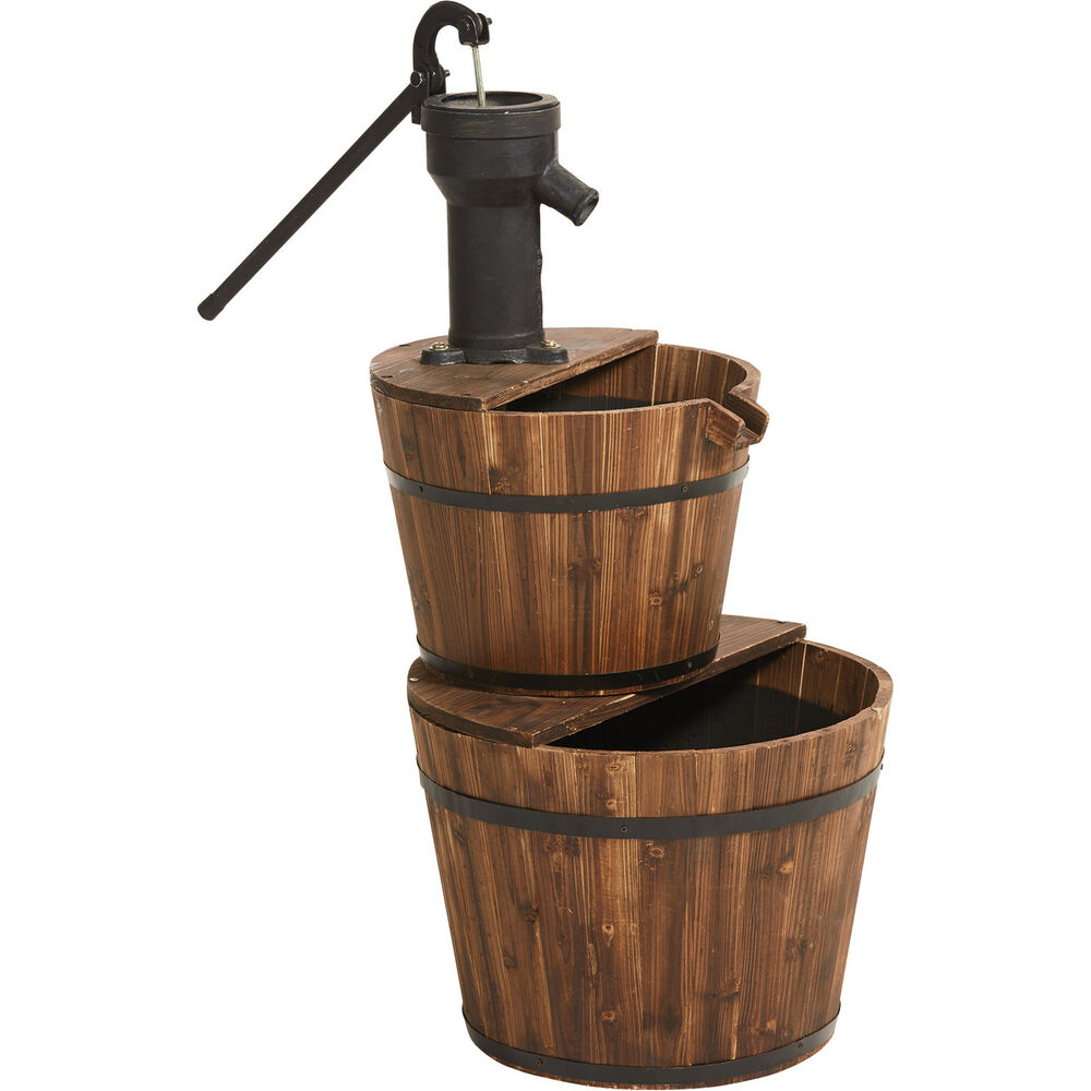 Old Fashioned 2 Tier Wood Barrel Water Fountain Ebay