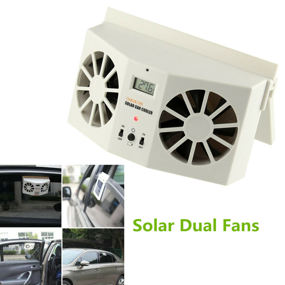 solar powered car window windshield auto air vent cooling dual fan system cooler ebay. Black Bedroom Furniture Sets. Home Design Ideas