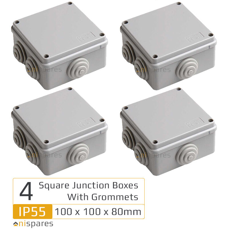 4 4 Weatherproof Electrical Box: 4 Square Electrical Junction Box & Grommets IP55 Outdoor