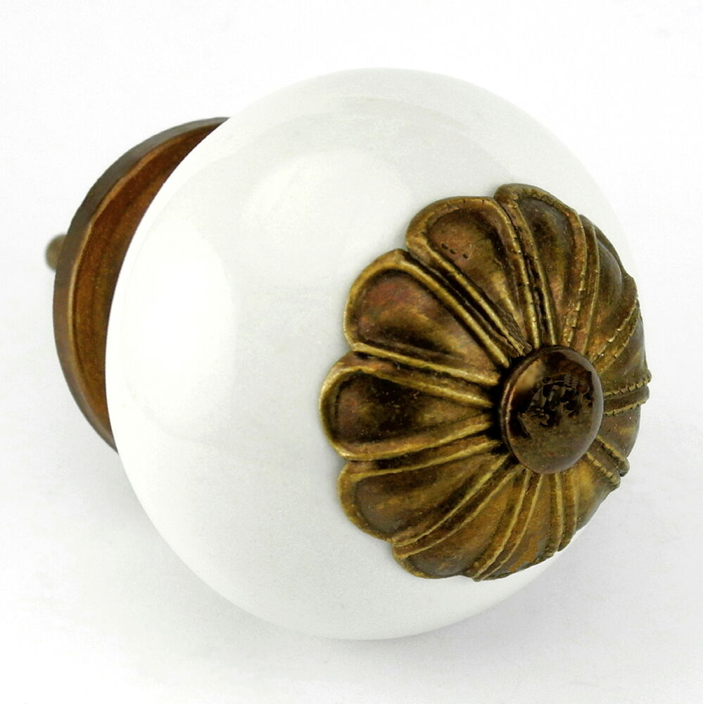 Ceramic Kitchen Cabinet Handles Drawer Pull Knobs Antique: Ceramic Drawer Pull, Round Cabinet Knob And Antique Brass