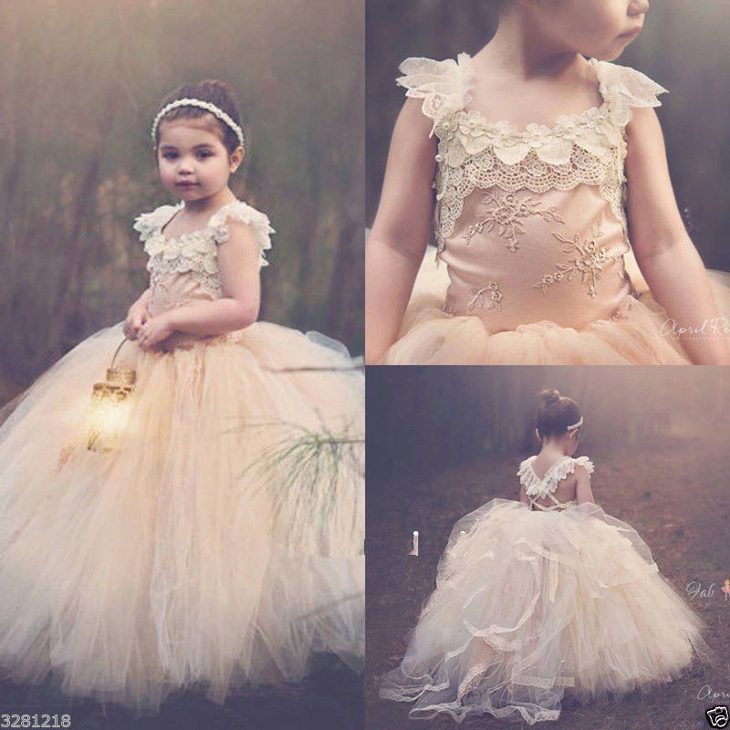 Vintage Flower Girl Dresses Champagne Lace Tulle First