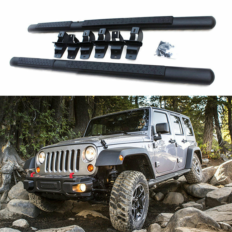 fit for jeep wrangler 4 door rubicon sahara 07 16 car running board side pedal ebay. Black Bedroom Furniture Sets. Home Design Ideas