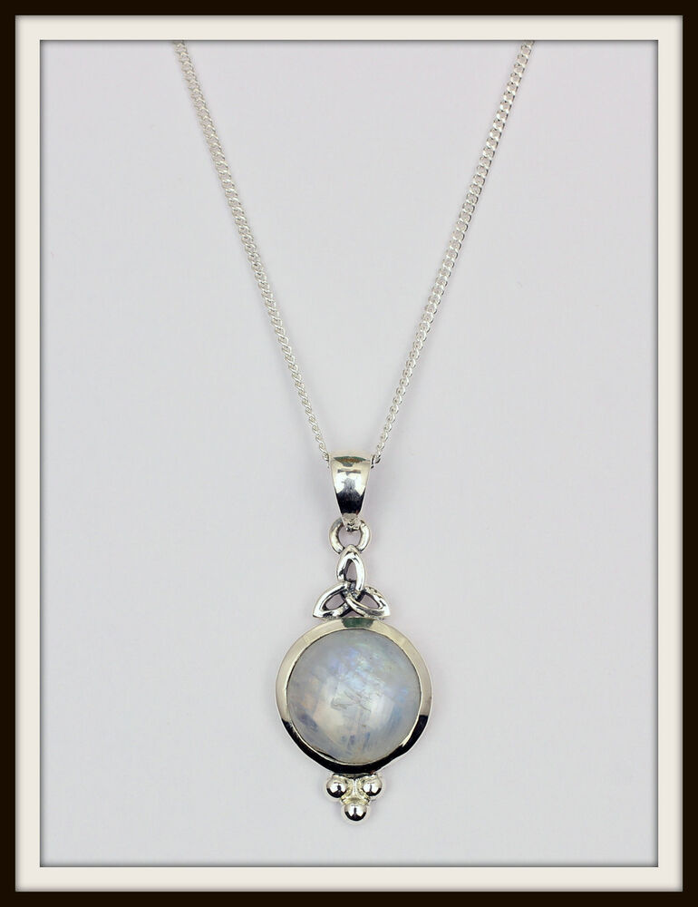MOONSTONE & STERLING SILVER TRINITY CELTIC PENDANT ...