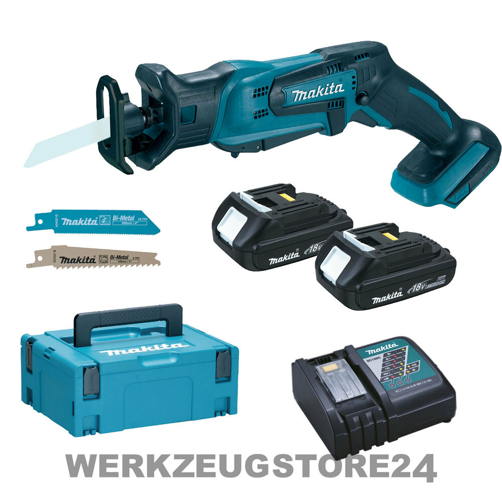 makita djr183y1j ladeger t akku recipros ge 18v 2x 1 5ah akku makpac s bels ge ebay. Black Bedroom Furniture Sets. Home Design Ideas