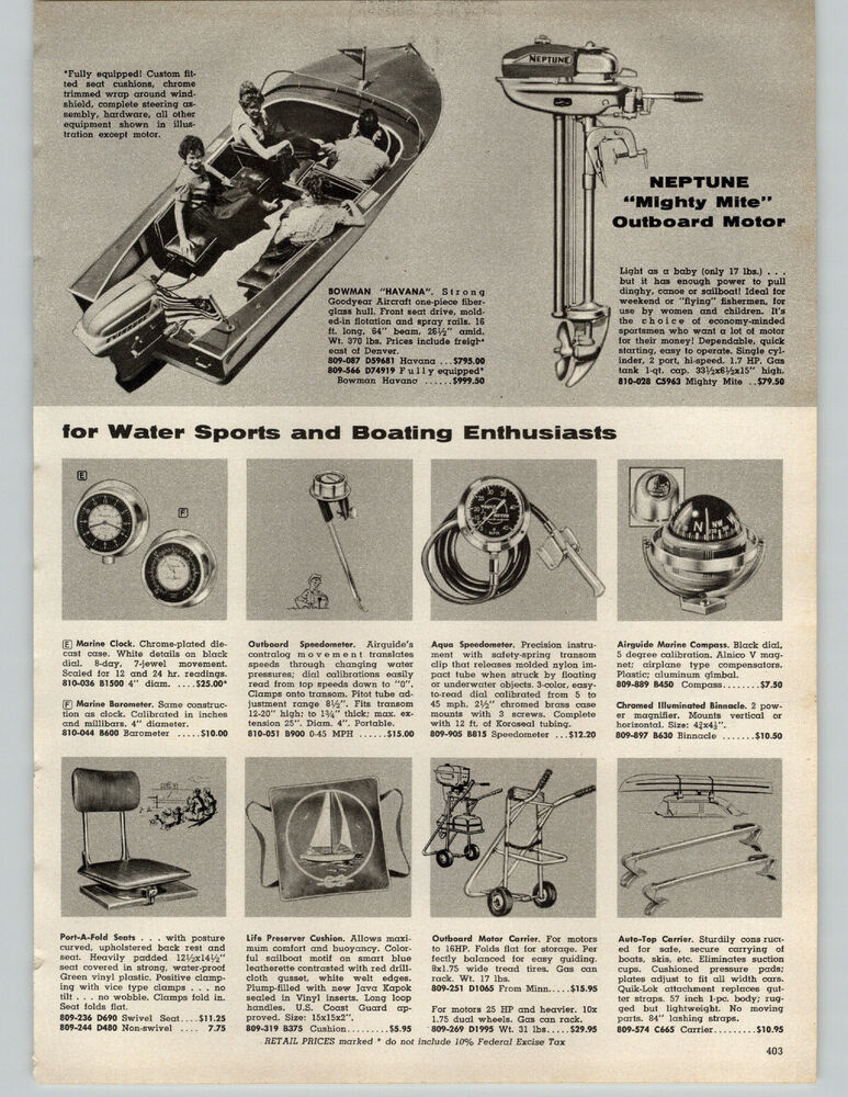 1957 PAPER AD Motor Outboard Neptune Mighty Mite Boat Bowman Havana