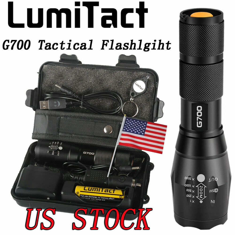 8000lm Genuine Lumitact G700 Led Tactical Flashlight Military Torch 2x Batteries