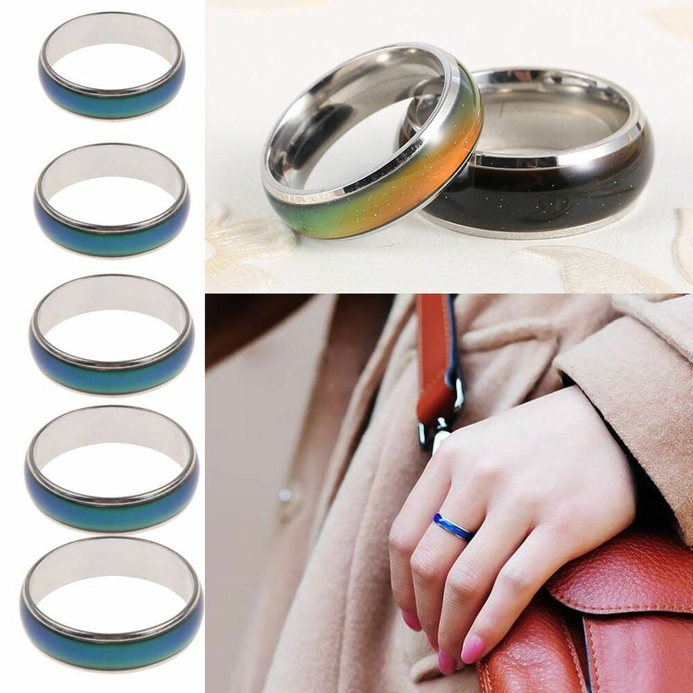 Kids adult stainless steel temperature color changing mood for Fashion jewelry that won t change color