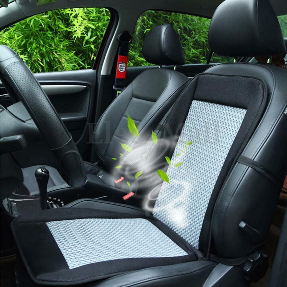 12v cooling car seat cushion cover air ventilated fan air conditioned cooler pad ebay. Black Bedroom Furniture Sets. Home Design Ideas