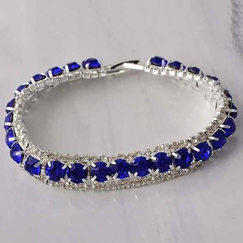 tennis bracelet blue for womens silver plated wide 10mm