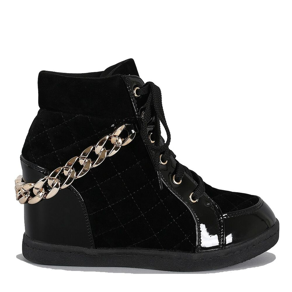 Fahrenheit Black Quilted Sneaker Wedge Lace Up Gold Chain