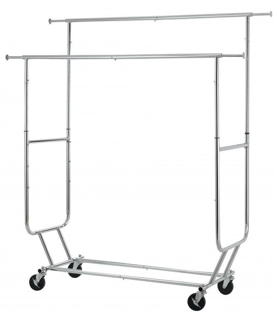 Commercial Grade Collapsible Clothing Rolling Double