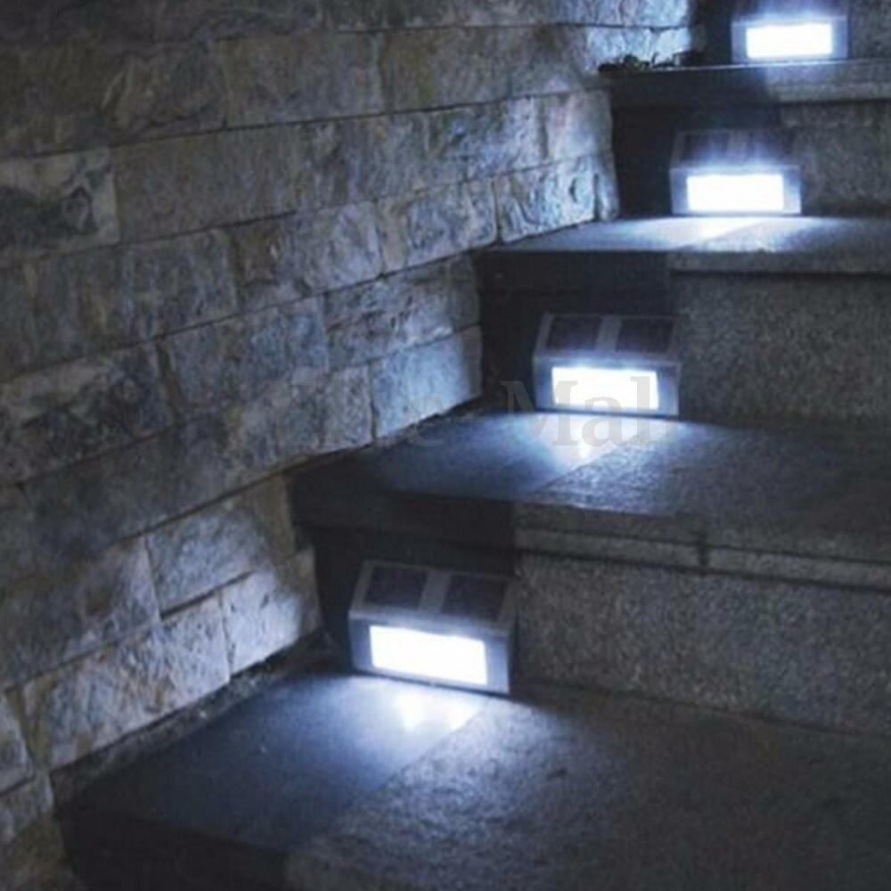 4PCS OUTDOOR SOLAR POWERED LAMP FENCE STEP WALL LIGHTS LED