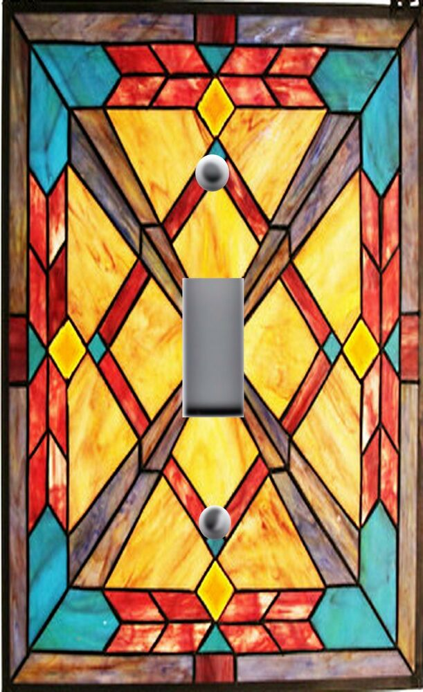 Light Switch Plate Outlet Covers Stained Glass Look