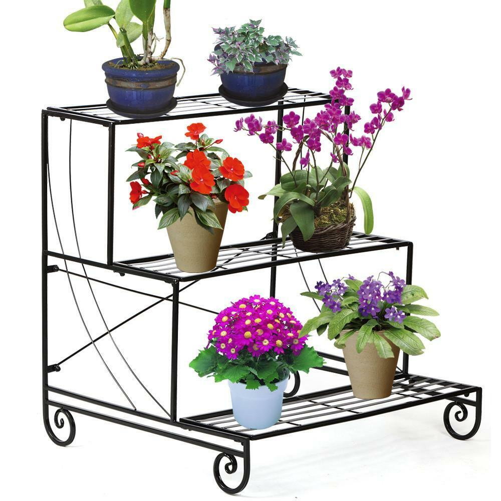 3 tier metal plant stand garden decorative planter holder for Decorative plants for garden