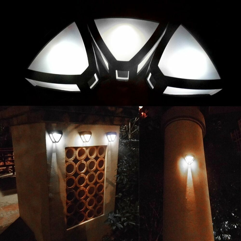 new outdoor solar powered wall mount led light garden path landscape fence lamp ebay. Black Bedroom Furniture Sets. Home Design Ideas
