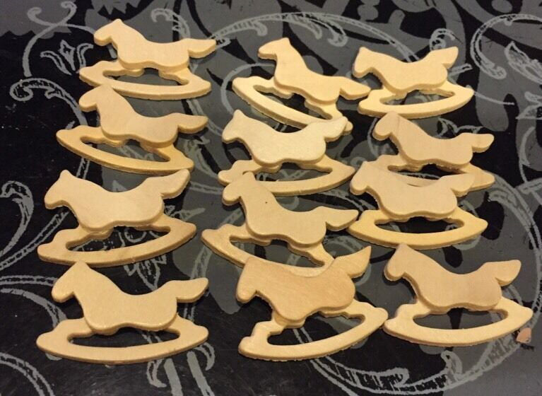 Lot of 12 rocking horses wooden craft pieces unfinished for Unfinished wood pieces for crafts