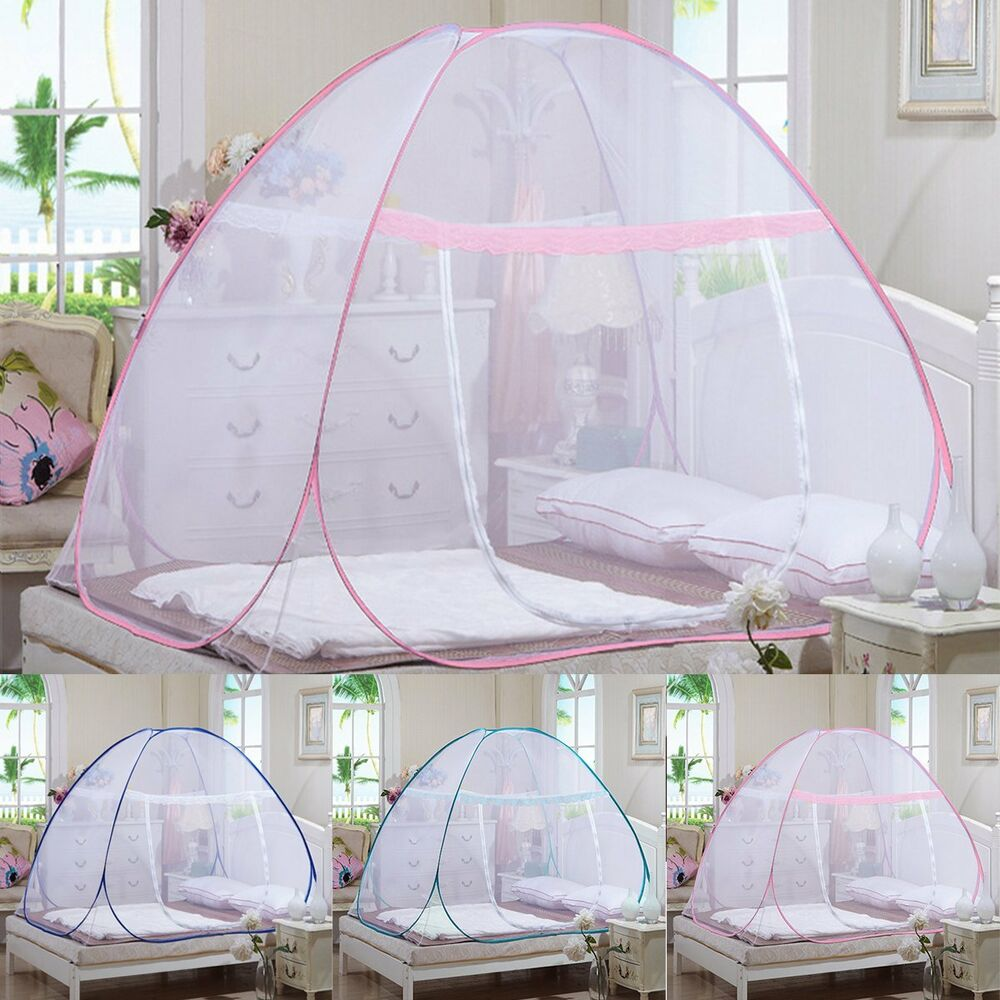 pop up camping tent bed canopy mosquito net full queen king size netting bedding ebay. Black Bedroom Furniture Sets. Home Design Ideas