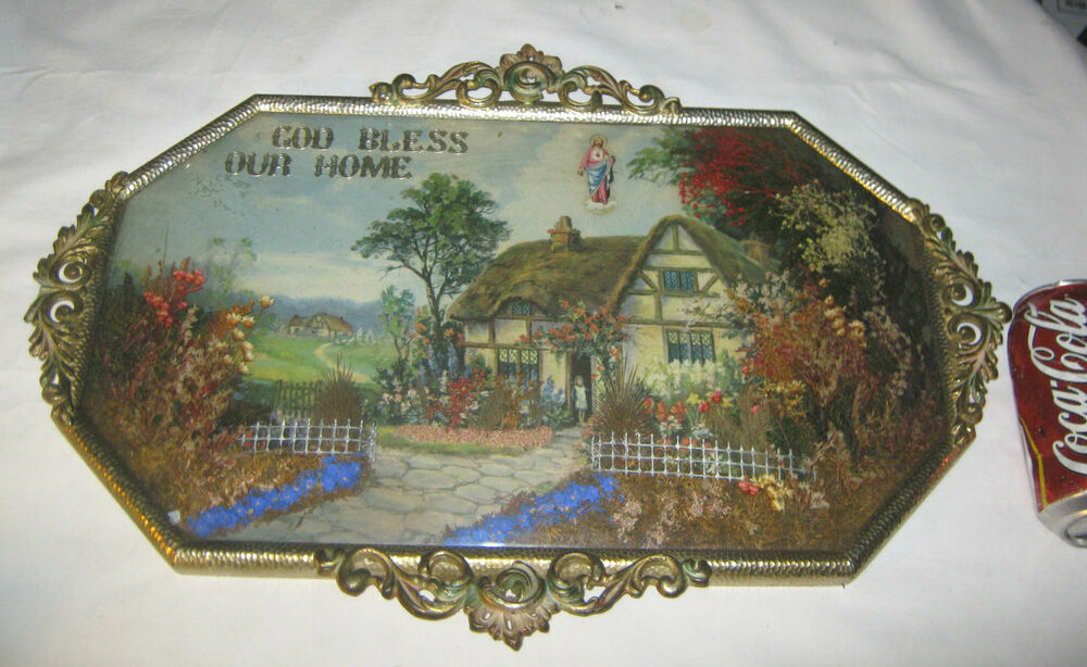 Antique Glass Picture Frame Dried Flower God Bless Our