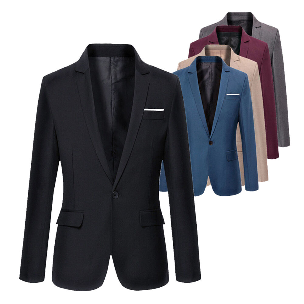Blazers Jackets Mens: Stylish Men's Casual Slim Fit Formal One Button Suit