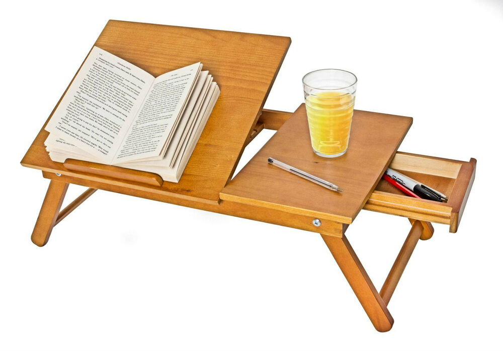 Wooden Reading Table ~ Folding wooden lap tray desk bed drawer breakfast table