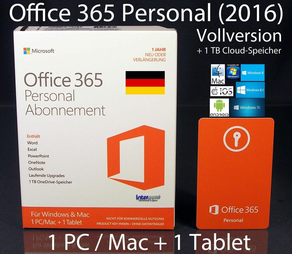microsoft office 365 personal 2016 vollversion box 1 pc. Black Bedroom Furniture Sets. Home Design Ideas