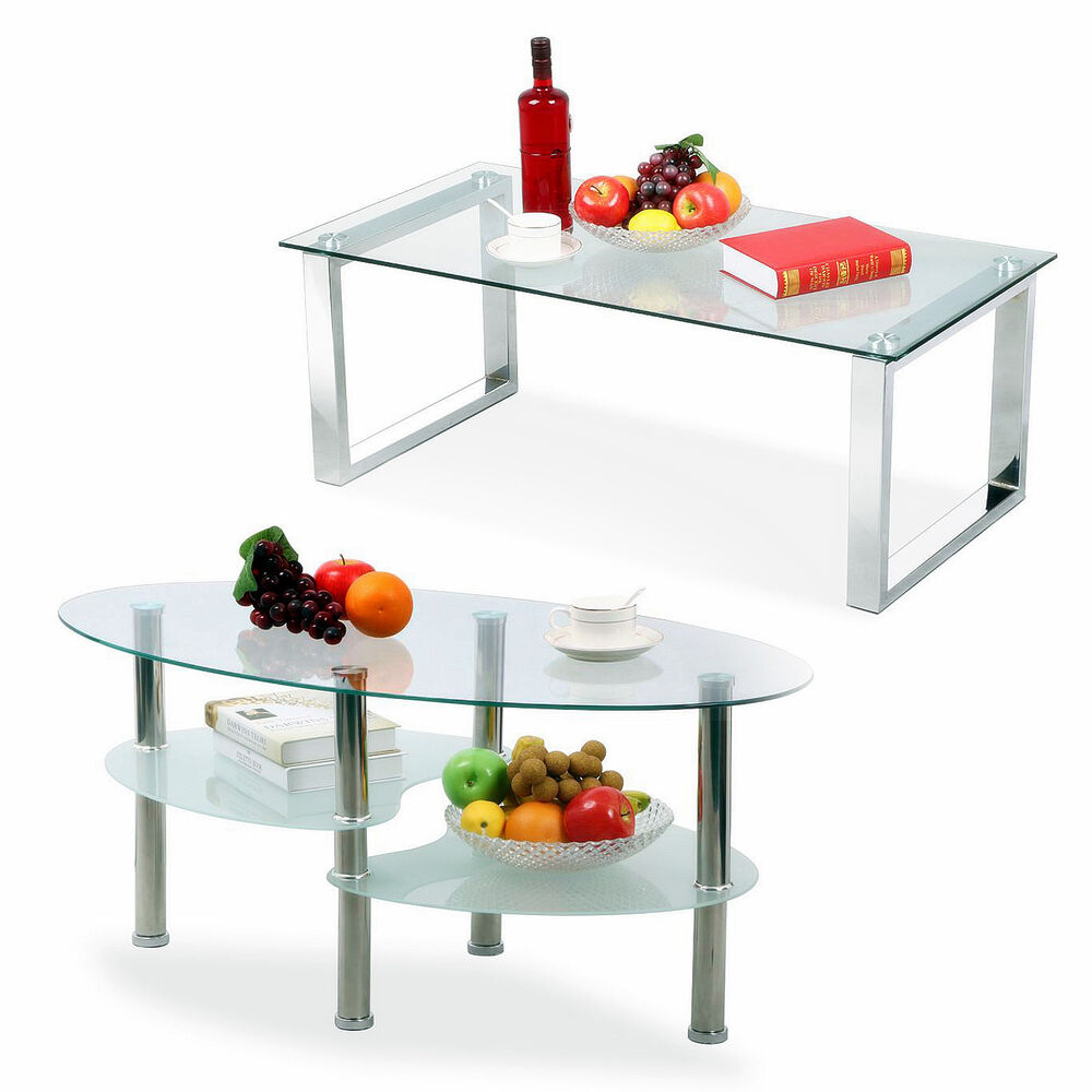 Modern design living room glass coffee table shelf chrome for Modern living room no coffee table
