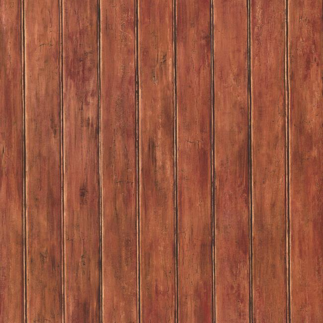 Wallpaper Country Faux Wood Bead Board Paneling Russet